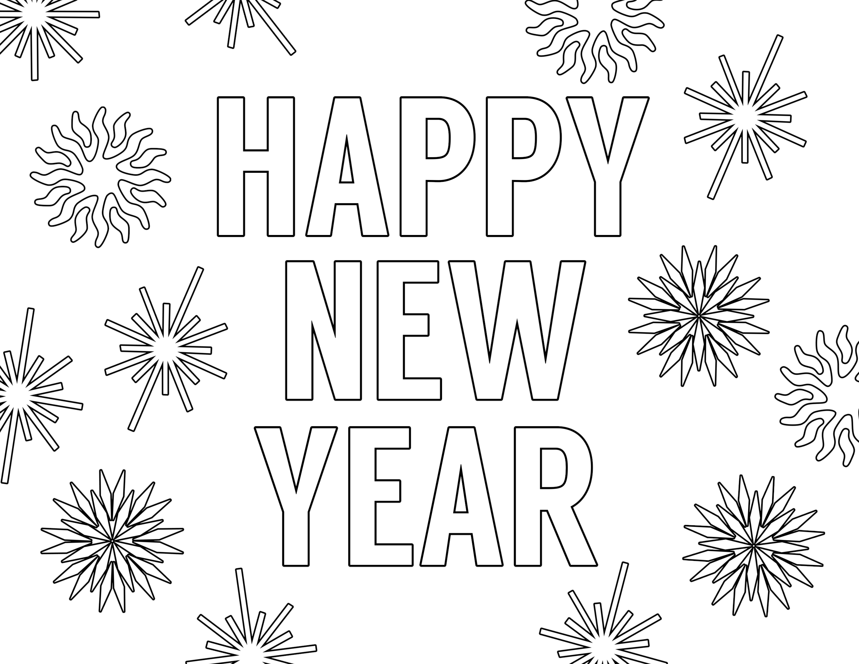 Click the following links to print the happy new year coloring pages free printable