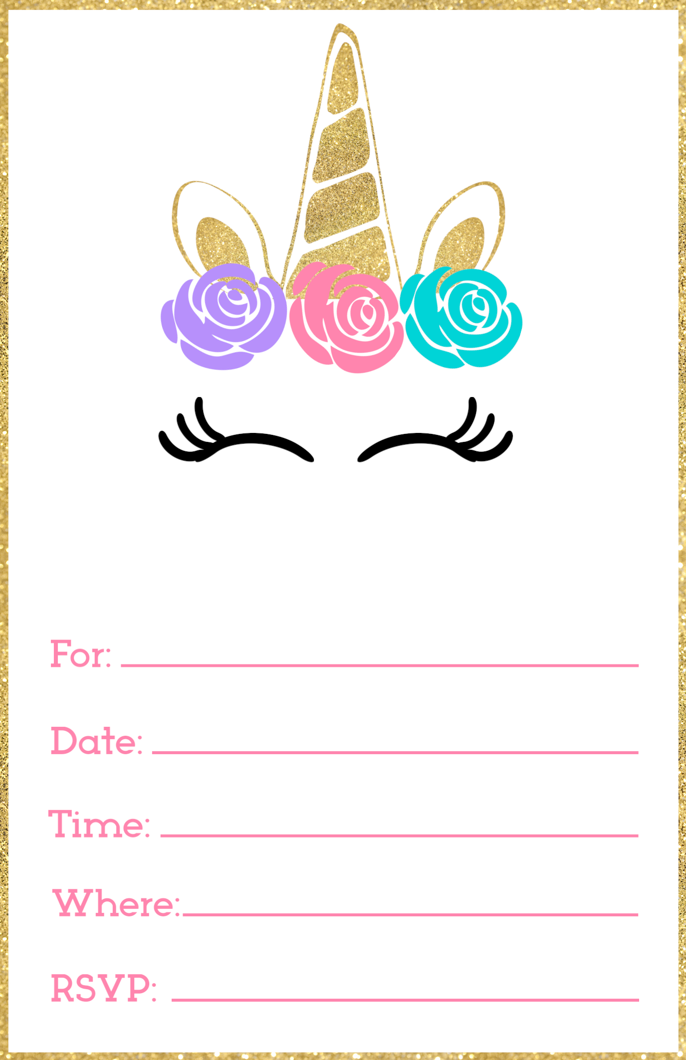 Free Printable Unicorn Invitations Template Paper Trail Design