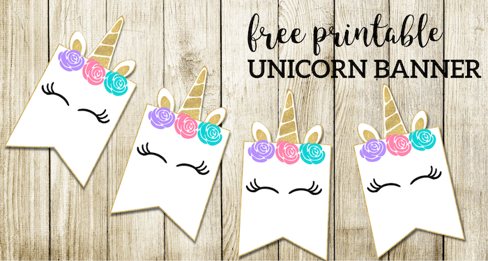 picture about Free Printable Baby Shower Banner called Absolutely free Printable Unicorn Decorations Celebration Banner - Paper