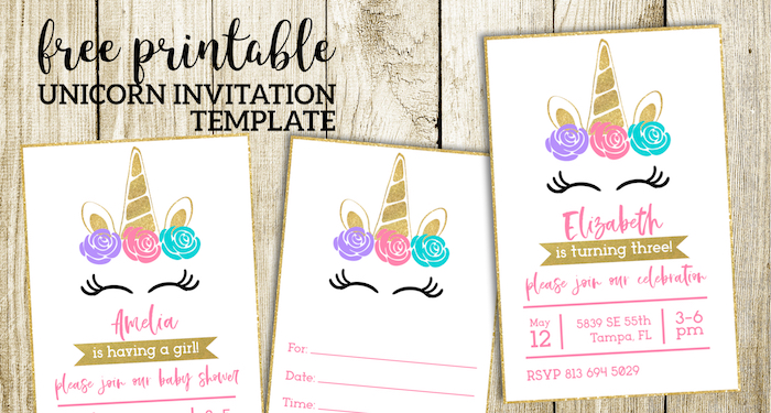 Old Fashioned image for unicorn invitations printable