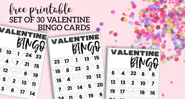Free Valentine Bingo Printable Cards. Class set of heart bingo cards for a valentine party or activity. Fun valentine game. #papertraildesign #valentine #valentineparty #valentinegame #valentinebingo #valentineactivities #valentineactivity #bingo #heart #heartbingo
