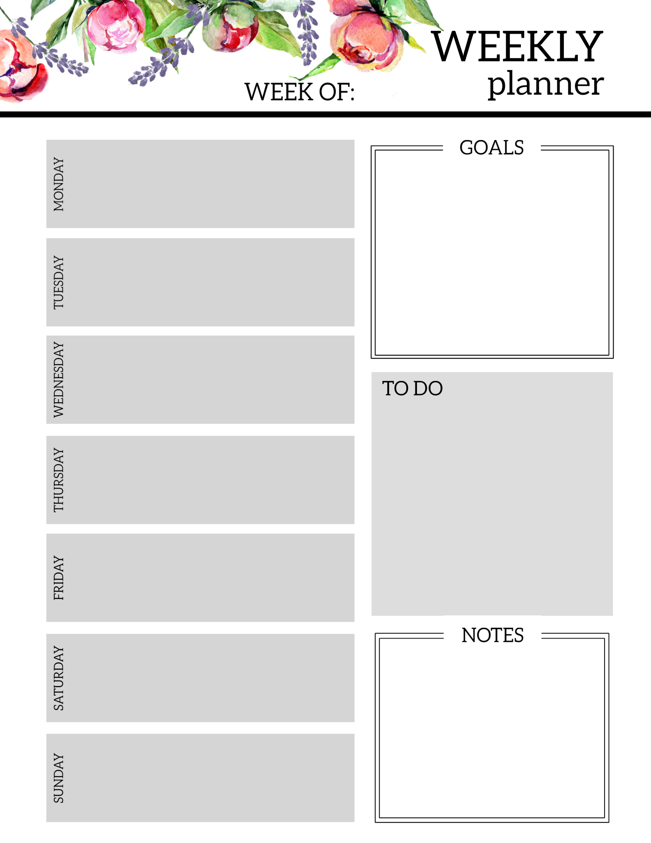Floral Free Printable Weekly Planner Template Paper Trail Design