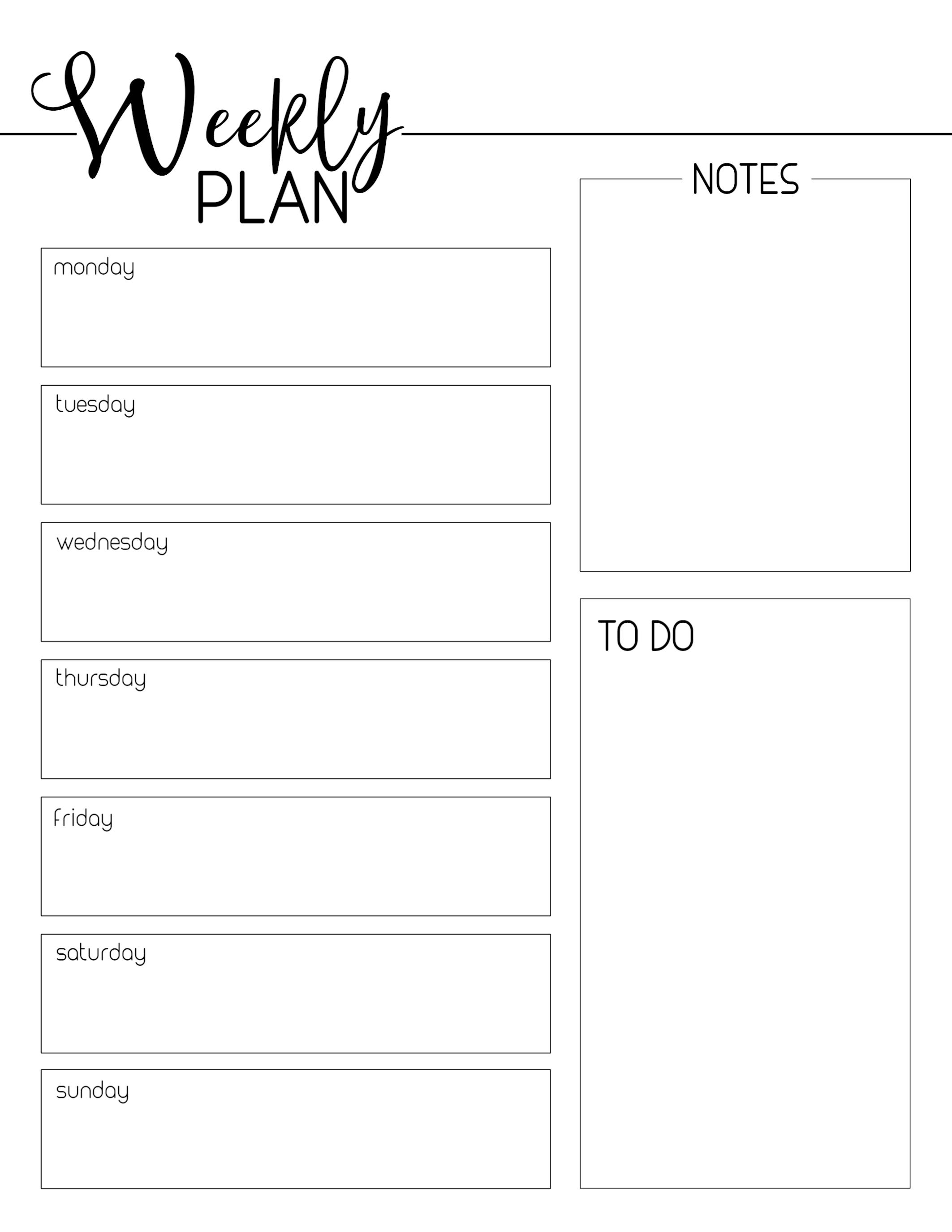 Weekly Planner Template Free Printable