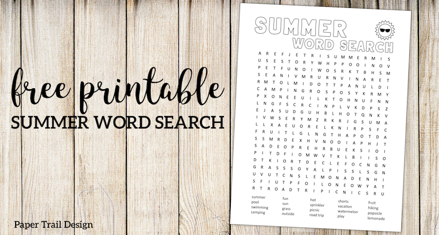 picture relating to Printable Summer Wordsearch identify Summer time Term Seem Printable - Paper Path Layout