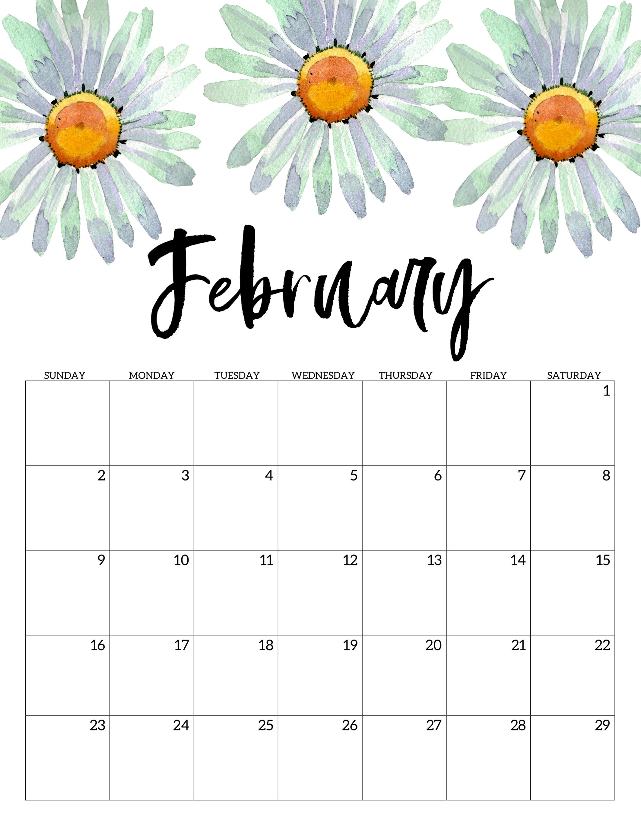 Cute February 2020 Calendar 2020 Free Printable Calendar   Floral   Paper Trail Design