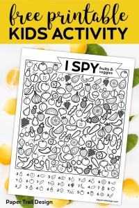 "data-pin-description=""Free Printable I Spy Game - Fruits & Veggies. Easy fun car activity or rainy day boredom buster activty to keep kids busy. #papertraildesign #kids #kidsactivity #roadtrip #roadtripgames #freeprintables"