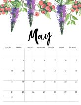 May Free Printable Calendar 2020 - Floral. Watercolor Flower design style calendar. Monthly calendar pages. Cute office or desk organization. #papertraildesign #calendar #floralcalendar #2020 #2020calendar #floral2020calendar