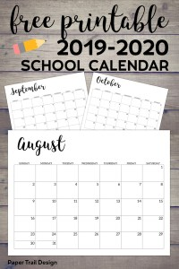 2019 2020 Printable School Calendar Paper Trail Design