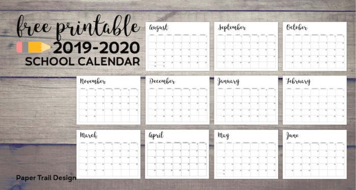 Calendar from August 2019 to June 2020 with text overlay- free printable 2019-2020 school calendar