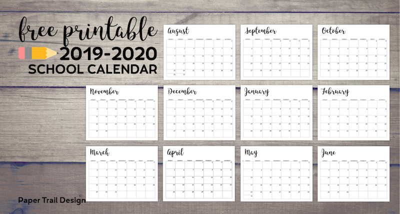 Free Printable 2020 Monthly Calendar.2019 2020 Printable School Calendar Paper Trail Design