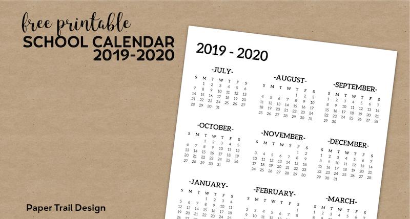 Calendrier Trail Bretagne 2019.2019 2020 One Page School Calendar Printable Paper Trail
