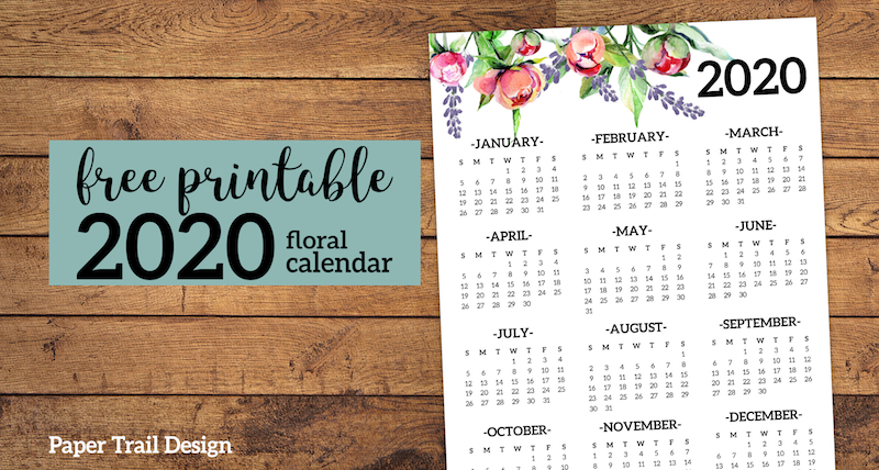 picture regarding Printable Calendar on One Page known as No cost Printable 2020 Calendar Every year A single Webpage Floral - Paper