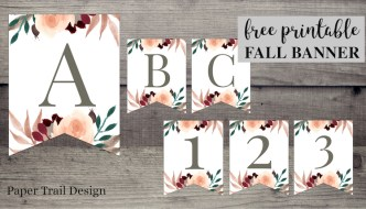 Banner flag letters A-B-C-1-2-3 with floral embelishments. Text overlay- free printable floral banner