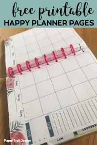 Happy planner open to a calendar page printable with text overlay - free printable Happy Planner Pages
