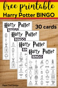 Four Harry Potter Bingo cards displayed with text overlay- free printable Harry Potter bingo 30 cards.