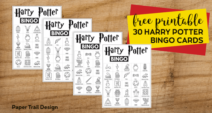 Four Harry Potter Bingo cards displayed with text overlay- free printable 30 Harry Potter bingo cards.