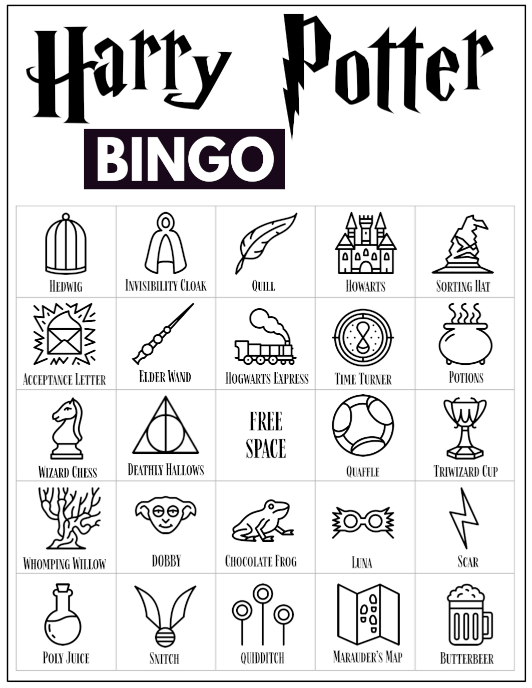 photograph about Free Printable Harry Potter Birthday Cards called No cost Printable Harry Potter Bingo Sport - Paper Path Structure