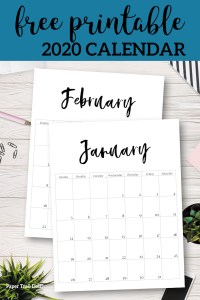 January 2020 tand February 2020 minimalist vertical calendar pages with text overlay- free printable 2020 calendar
