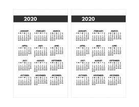 2020 Printable One Page Year at a Glance Calendar in bold font in mini happy planner size.