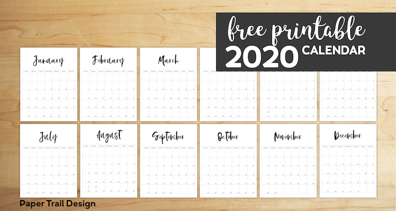photo relating to Vertical Calendar Printable called Absolutely free Printable 2020 Calendar Template Webpages - Paper Path Design and style