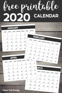 January through March calendar pages with text overlay- free printable 2020 calendar