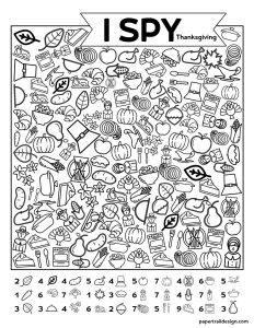 I spy game with line icons scattered throughout the page and a key to help you know which images to find.