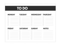 Classic happy planner size free printable weekly to do list from Monday to Sunday with notes