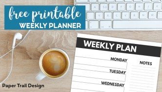 Weekly Plan Planner page next to computer, earbuds, and coffee, with text overlay-free printable weekly planner