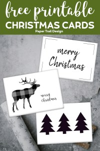 Three Merry Christmas cards including reindeer silhouette, Christmas tree silhouette, and merry Christmas script with text overlay- free printable Christmas cards