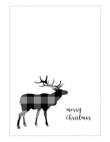 5x7 black and white Christmas card with reindeer silhouettes and merry Christmas.