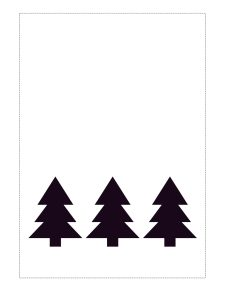 5x7 black and white Christmas card with three black tree silhouettes.