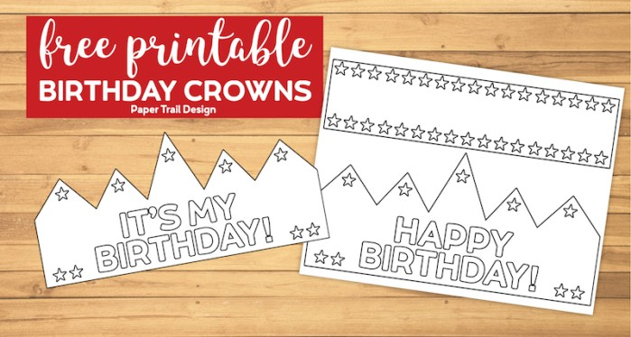 free printable birthday crowns that say Happy Birthday and It's my Birthday with text overlay-free printable birthday crowns