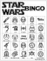 Star Wars bingo board game in black and white