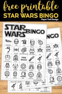 Star Wars Game Bingo Boards on wood background with text overlay- free printable Star Wars bingo