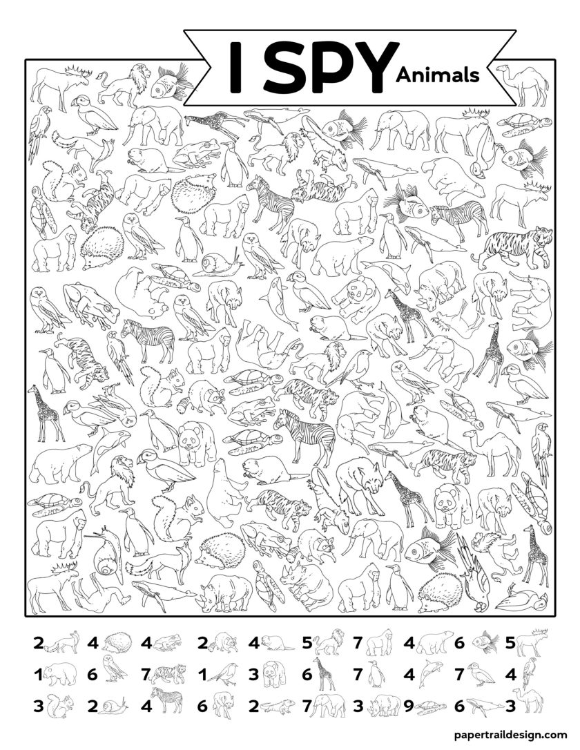 free printable i spy animal activity {boredom buster