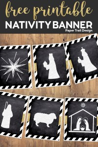 Decorative Nativity themed banner flags including a star, wise men, shepherd, sheep, and Christ child with Joseph and Mary- with text overlay free printable nativity banner