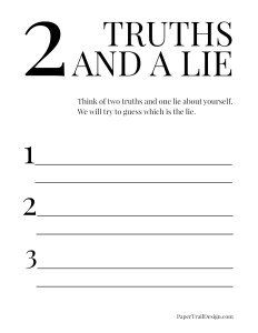Two truths and a lie printable page