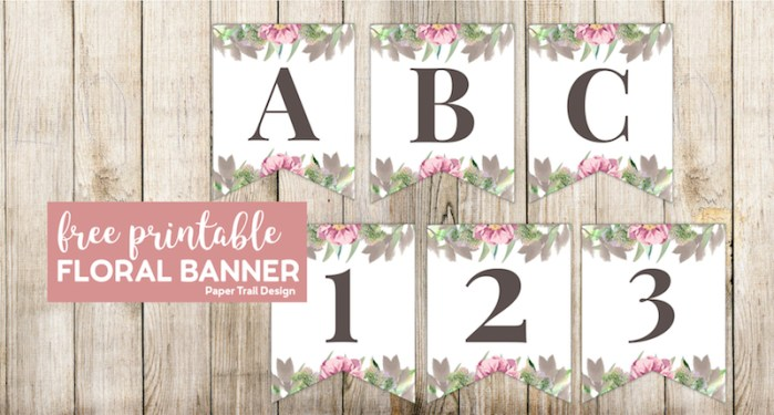 Banner flags A, B, C, 1, 2, and 3, with floral embelishments with text overlay - free printable floral banner