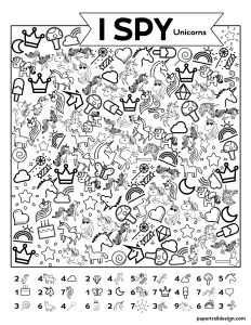 Unicorn I spy activity page printable with text overlay- free printable I spy unicorn