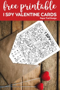 I spy themed valentine card in and envelope with text overlay- free printable I spy valentine cards.