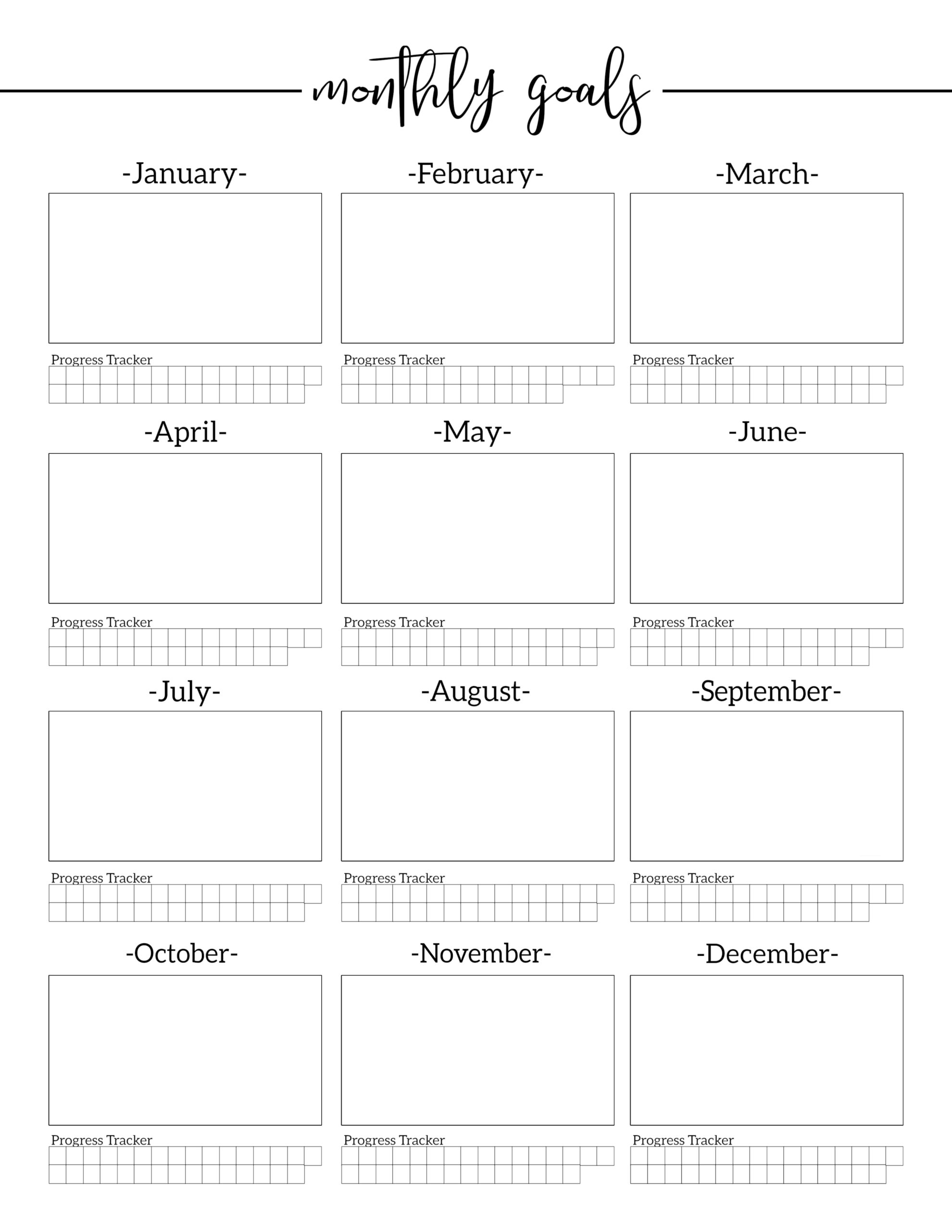 Monthly Goal Setting Worksheet With Progress Tracker