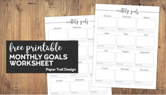Monthly goal setting worksheets with text overlay- free printable monthly goals worksheet