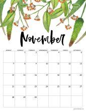 November 2021 Floral Calendar page with orange flowers