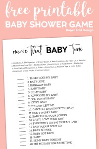 Name that baby tune game with text overlay- free printable baby shower game.