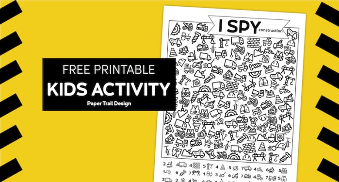 Construction themed I spy activity on yellow and black caution tape background with text overlay- free printable kids activity