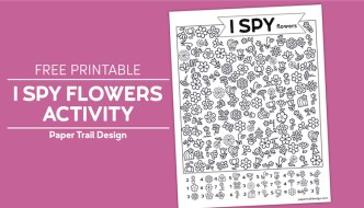 Flower themed I spy activity page with various black and white pictures of flowers scattered throught the page on pink background with text overlay- free printable I spy flowers activity