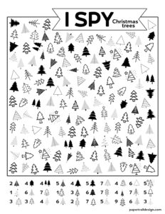 Christmas tree themed I spy activity page printable