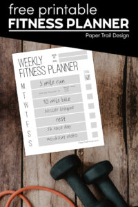 Weekly fitness planning page with weights and fitness bands with text overlay- free printable fitness planner