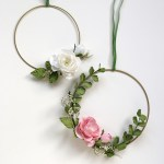 Floral Hoop Wreath Paper Flower Decoration For Weddings Parties