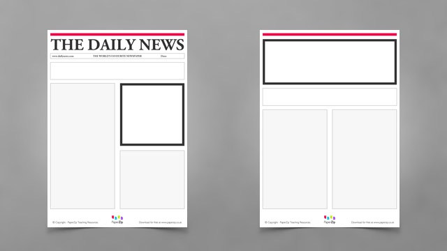 photo about Printable Newspaper Template known as Blank Newspaper Templates - PAPERZIP